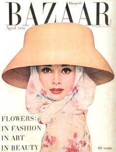 Audrey Hepburn on the cover of Harper's Bazaar, April 1956. Photo by Richard Avedon.