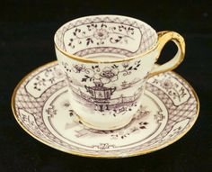 1750 Antique English Bow Porcelain Mulberry Transferware Cup & Saucer | eBay