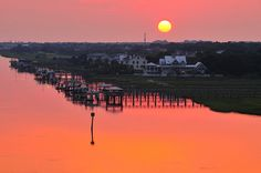 Docks at sunrise,    Isle of Palms, SC