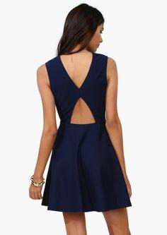 Navy Cut-Out Back Dress