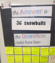 Question and Answer board - give students the answer and they have to write a word problem that matches the answer. You can have students do any operation or even 2 step problems. I have my students check each other's questions the next day.