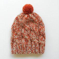Chunky Beanie, Soft wool hat, Orange Marl by pincelshop on Etsy