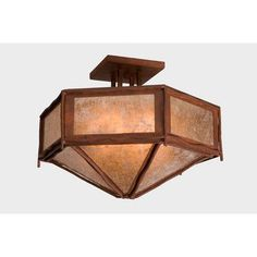 Steel Partners Sticks Hexagon Drop Semi Flush Mount Finish: Mountain Brown, Shade Color: Khaki