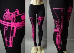 Hot Pink Machine Gun AK-47 Pistol Graphic Print Rebel Punk 81 mv Legging S M L