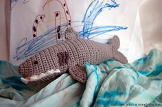 """Shark Time Pouch - free crochet pattern! Perfect for pencils, markers, small toys, or other """"shark time"""" supplies!"""