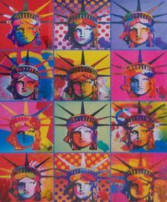 Peter Max - Liberty and Justice For All  could you Xerox a print of the face on a transparency and color with cray-pas in the reverse painting technique?