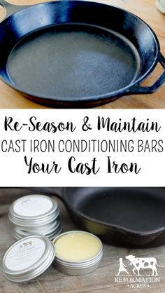 Learn How Using a Cast Iron Conditioning Bar to Season Your Skillet can keep your cast iron non-stick and glossy(Camping Hacks Kitchen) Cast Iron Skillet Cooking, Iron Skillet Recipes, Cast Iron Recipes, Dutch Oven Cooking, Cooking Tips, Dutch Ovens, Cooking Dishes, Camping Meals, Camping Recipes