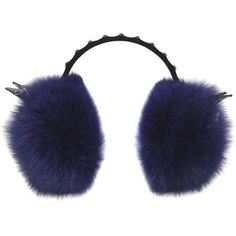 Mcm Women Labbit Headphones With Fox Fur ($1,240) ❤ liked on Polyvore featuring accessories, tech accessories, navy and mcm