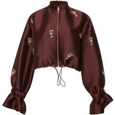 Sachin & Babi Embroidered Bayi Jacket ($1,195) ❤ liked on Polyvore featuring outerwear, jackets, coats, burgundy, red jacket, embroidery jackets, red sequin jacket, red ruffle jacket and embroidered jacket