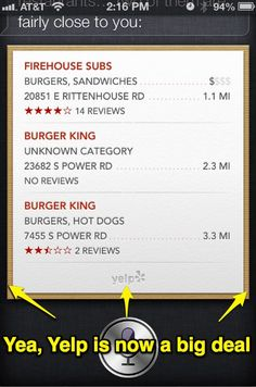 Yelp and Siri iOS 6 are pretty much fully integrated now.  #Local #Yelp #Siri