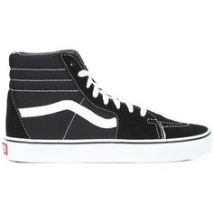 Vans lace-up hi-tops ($65) ❤ liked on Polyvore featuring shoes, sneakers, black, black high top sneakers, high top trainers, black sneakers, black high tops and lace up sneakers