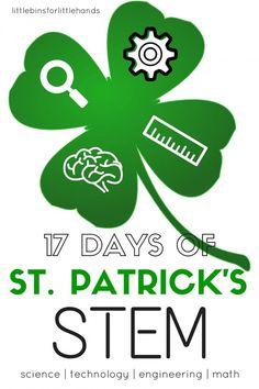 Fun St Patricks Day STEM countdown for kids. St Patricks Day activities include science, STEM, slimes, and rainbow activities for preschool, kindergarten and grade school kids.