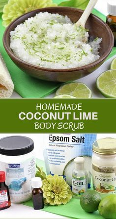 Coconut Lime Body Scrub Homemade Coconut Lime Body Scrub with the sweet and energizing aromas of coconut and lime. It exfoliates the skin while leaving it soft and moisturized. Makes a great gift, too! Body Scrub Recipe, Diy Body Scrub, Sugar Scrub Recipe, Diy Scrub, Hand Scrub, Scrub Shop, Diy Savon, Sugar Scrub Homemade, Homemade Beauty Products