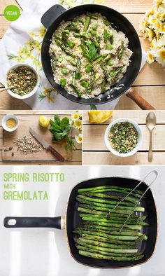 Delicious spring vegetable risotto topped with a zesty gremolata. It's light yet filling and completely plant-based. #vegan #risotto #spring #glutenfree #dinner #lunch #Italian #asparagus