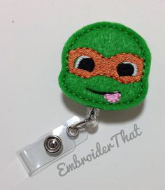 Retractable ID Badge Reel with ONE by EmbroiderThat on Etsy