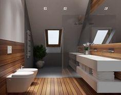 Modern bathroom with wood floor Loft Bathroom, Wooden Bathroom, Chic Bathrooms, Bathroom Toilets, Bathroom Interior, Small Bathroom, Bad Inspiration, Bathroom Inspiration, Contemporary Bathroom Lighting