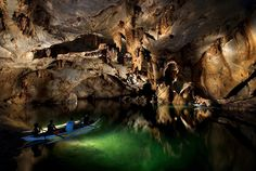 The Palawan Underground River. At 8km long beneath the cliffs, this river is believed to be the longest navigable underground river in the world. It features cathedral-like caverns and domes and can be reached from Sabang, Palawan via boat.
