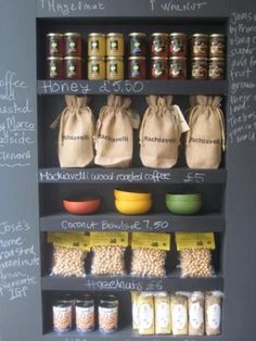 read the writing on the wall - great display idea for shop