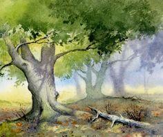 easy watercolor paintings for beginners trees Tree Watercolor Painting, Art Painting, Landscape Paintings, Watercolor Trees, Tree Painting, Watercolor Landscape, Watercolor Paintings For Beginners, Landscape Art, Woodland Scene