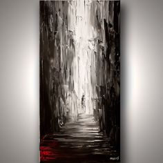 Original abstract art paintings by Osnat - vertical painting of an alley in black and white