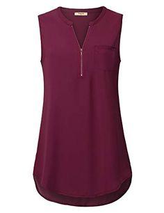 Timeson Women's Casual V Neck Sleeveless Tunics Blouses Chiffon Zipper Tank Tops – Trending In America Sleeveless Tunic, Tunic Blouse, Dress Shirts For Women, Blouses For Women, Looks Plus Size, Work Tops, Casual Tops, Blouse Designs, Chiffon Tops