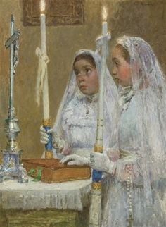 """""""The Communicants,"""" Gari Melchers, oil on canvas, 28.75 x 21.5"""", private collection."""