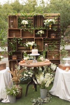 Looking for rustic wedding decorations for your summer wedding or rustic wedding? We love stacked crates, filled with flowers and candles., For 35 more wedding decoration ideas, visit Hitched wedding decorations Summer wedding Outdoor Wedding Decorations, Wedding Centerpieces, Wedding Table, Diy Wedding, Wedding Events, Wedding Bouquets, Wedding Ceremony, Rustic Wedding, Wedding Ideas