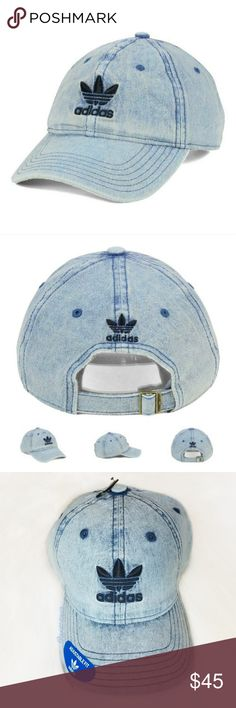 288c5d64 Adidas denim hat ✨This denim relaxed strapback dad hat has a naturally  curved bill ✨Light wash denim ✨Embroidered Adidas logos front and back ...