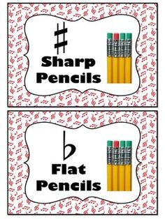 FREE download!  Pencil Tin Labels for the music classroom - SHARP and FLAT  Three different colors in this free download: Red, blue and green!
