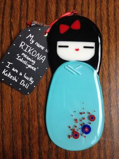 Rikona Glass Kokeshi Doll Japanese Inspired Handmade