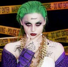Joker Suicide Squad Makeup Tutorial - My most beautiful makeup list Joker Makeup Tutorial, Tutorial Eyebrow, Make Up Tutorial Contouring, Halloween Kostüm Joker, Halloween Looks, Halloween Cosplay, Couple Halloween, Female Joker Makeup, Female Joker Costume