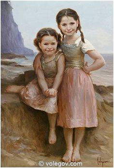 SOLENE AND LUCILLE, commissioned portrait, WILLIAMS BOUGUEREAU inspiration, Vladimir Volegov