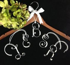 1 Personalized Bride  Hanger Ornament Bride gift  Wedding Dress Bridal Hanger Initial Name