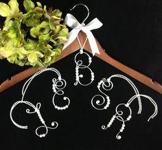 1 Personalized Bride  Hanger Ornament Bride gift  Wedding Dress Bridal Hanger Initial Name