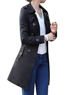 d1aa779089 Enlishop Women's Double Breasted Long Sleeve Solid Fashion Trench Coat XL  Black