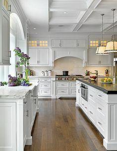 Walter Lane white Kitchen. Love everything but the pendant lights.