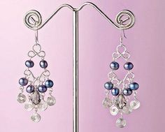 chandelier wire frame, wire swirl and pearl dangle earrings By Jacqueline Trerise - from Pearl Bracelet, Pearl Earrings, Pearl Pendant! Download 3 DIY Pearl Jewelry Projects You Have to Try