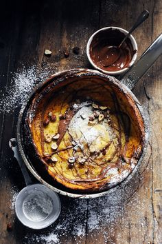 Dutch Baby Pancake with Chocolate and Hazelnuts