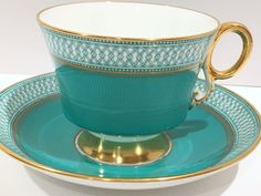 Royal Adderley Tea Cup and Saucer, Aqua Tea Set, Teacups Antique, Vintage Tea…
