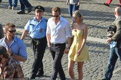 Police presence: The A-listers were accompanied by several police officers to…