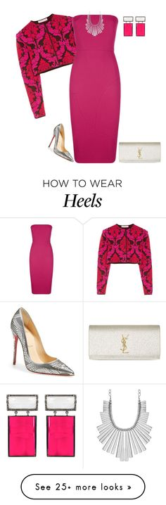 """""""outfit  2578"""" by natalyag on Polyvore featuring Mary Katrantzou, Victoria Beckham, ADORNIA, Christian Louboutin, Yves Saint Laurent and Lucky Brand"""