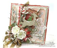 My Little Craft Things: Frilly and Funkie - All Lined Up Christmas Reindeer Card Christmas Cards 2018, Create Christmas Cards, Christmas Card Crafts, Christmas Tag, Xmas Cards, Handmade Christmas, Holiday Cards, Shabby Chic Christmas, Vintage Christmas