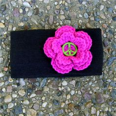 Winter Ear Warmer Black Headband Pink Flower Peace Sign $8.00