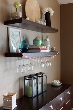 Floating Glass Shelves are Definite Beautiful Addition to Your House. Floating Glass Shelves are Definite Beautiful Addition to Your House. 12 Ideas Of Led Floating Glass Shelves Dining Room Storage, Dining Room Walls, Dining Area, Kitchen Dining, Kitchen Buffet, Small Dining, Patio Dining, Kitchen Decor, Vintage Apartment