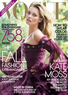Don't know how she does it.  Plain gorgeous.  #Vogue #covers #models #Kate_Moss