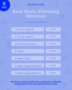 Get in a fat burner workout and muscle toning workout in just 8 minutes. This full body workout will help you slim overall and you can find more workouts like these over at Blogilates. Thigh Exercises, Back Exercises, Body Workouts, Butt Workout, Group Fitness, Fitness Tips, Total Body, Full Body, Single Leg Bridge