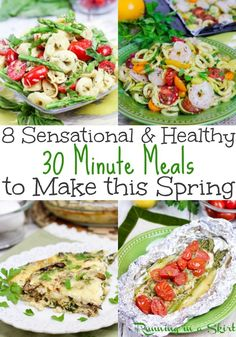 8 30 Minute Healthy Spring Meals - includes simple vegetarian & pescatarian recipes and lunch ideas for families. Packed with veggies and some recipes use greek yogurt! Includes low carb, paleo, vegan and dairy free options. / Running in a Skirt Spring Recipes, Spring Meals, Mediterranean Potato Salad Recipe, Trans Fat Foods, Pescatarian Recipes, 30 Minute Meals, Healthy Food Choices, Healthy Dinner Recipes, Healthy Meals