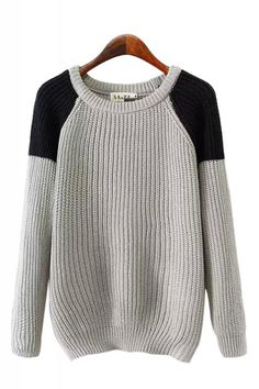 Contrast Color Round Neck Long Sleeve Pullover Sweater grey one size