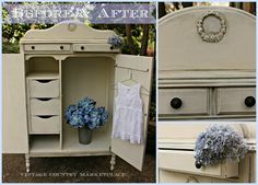 Annie Sloan Chalk Paint Wardrobe Chifferobe - using French Linen, Old White & Cocoa Wash  http://vintagecountrystyle.blogspot.com/