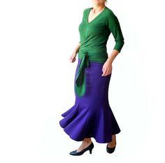 Custom womens clothing Summer V neck top Green top Wrap top